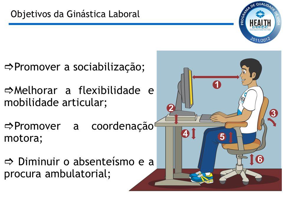 Objetivos da Ginástica Laboral Promover a sociabilização; Melhorar a flexibilidade e mobilidade articular; Promover a coordenação motora; Diminuir o a