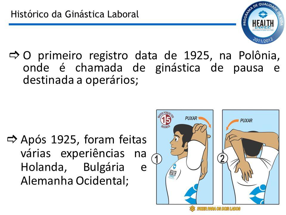 Histórico da Ginástica Laboral O primeiro registro data de 1925, na Polônia, onde é chamada de ginástica de pausa e destinada a operários; Após 1925,