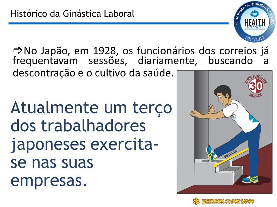 Histórico da Ginástica Laboral No Japão, em 1928, os funcionários dos correios já frequentavam sessões, diariamente, buscando a descontração e o culti