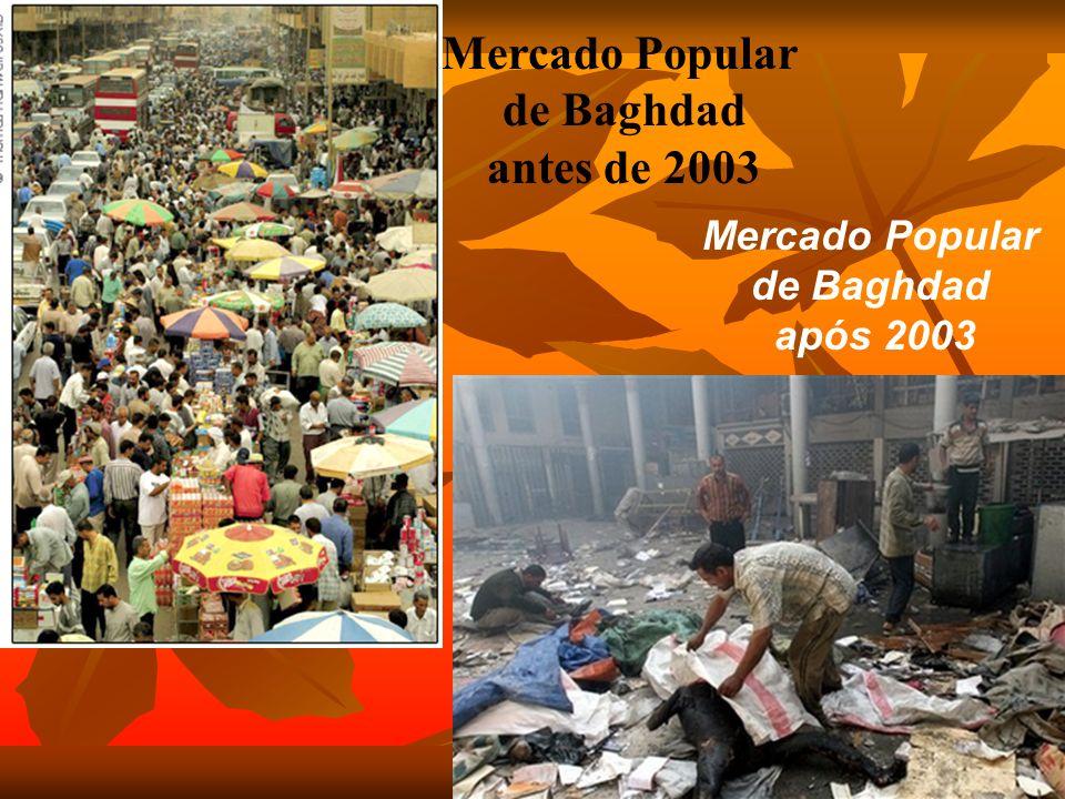 Mercado Popular de Baghdad antes de 2003 Mercado Popular de Baghdad após 2003