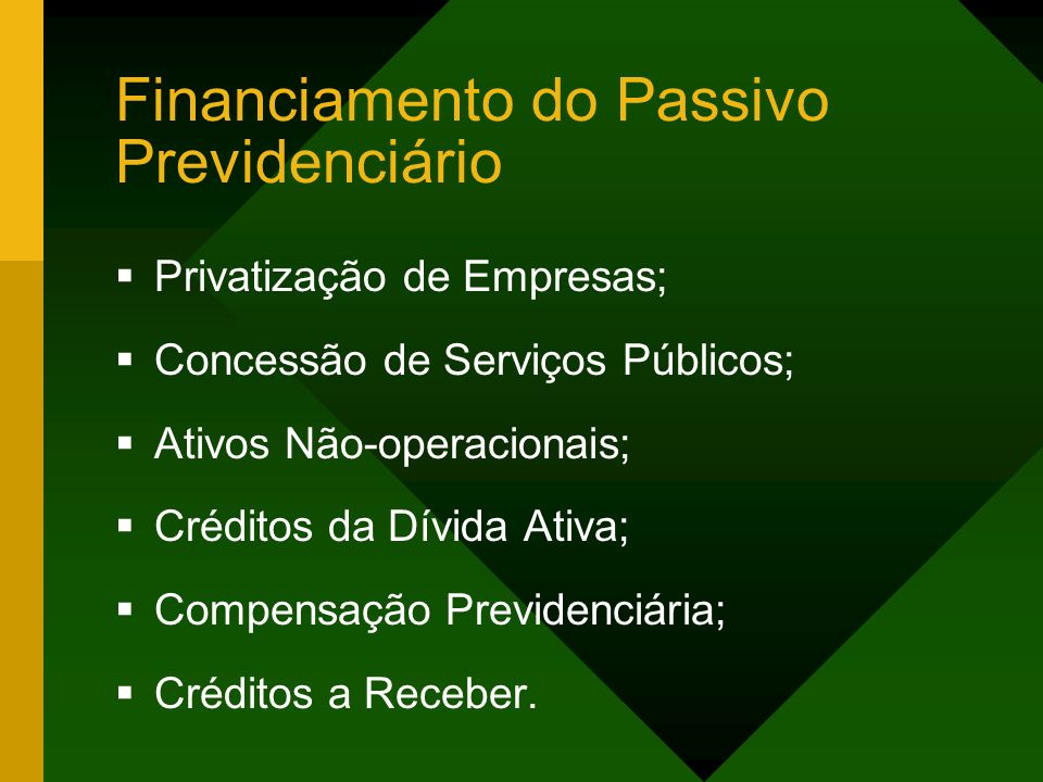 Financiamento do Passivo Previdenciário Privatização de Empresas; Concessão de Serviços Públicos; Ativos Não-operacionais; Créditos da Dívida Ativa; Compensação Previdenciária; Créditos a Receber.