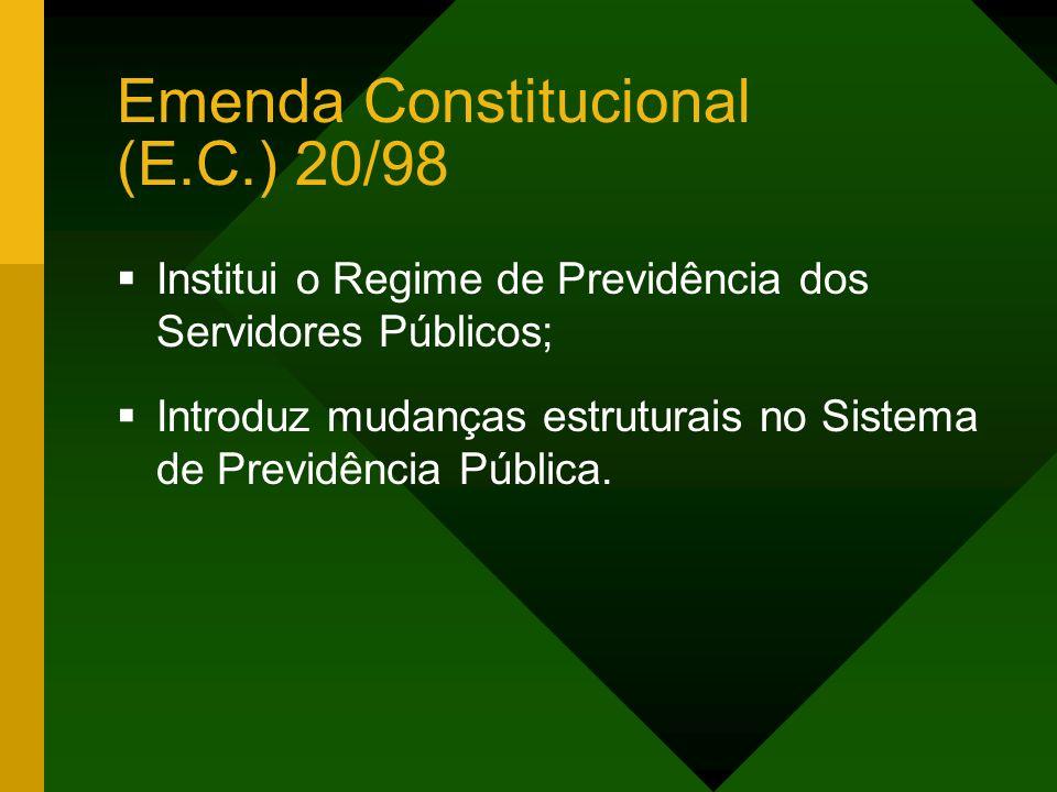 Emenda Constitucional (E.C.) 20/98 Institui o Regime de Previdência dos Servidores Públicos; Introduz mudanças estruturais no Sistema de Previdência Pública.