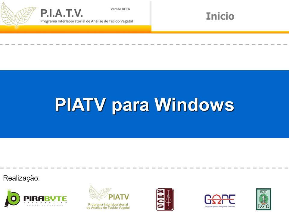 Inicio PIATV para Windows Realização: