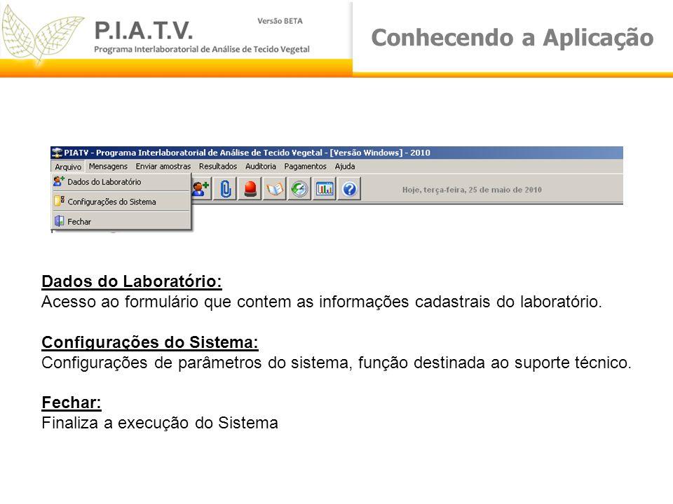 Conhecendo a Aplicação Dados do Laboratório: Acesso ao formulário que contem as informações cadastrais do laboratório. Configurações do Sistema: Confi
