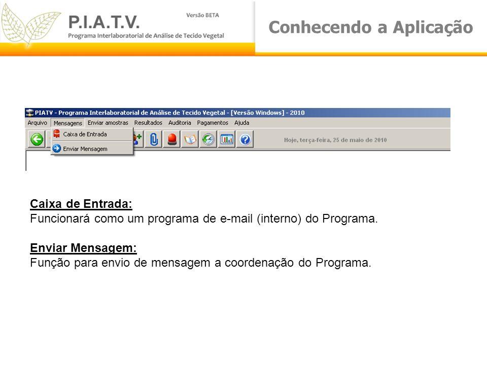 Conhecendo a Aplicação Caixa de Entrada: Funcionará como um programa de e-mail (interno) do Programa. Enviar Mensagem: Função para envio de mensagem a
