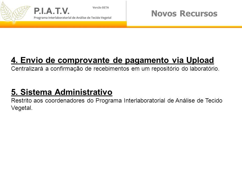 Novos Recursos 4. Envio de comprovante de pagamento via Upload Centralizará a confirmação de recebimentos em um repositório do laboratório. 5. Sistema