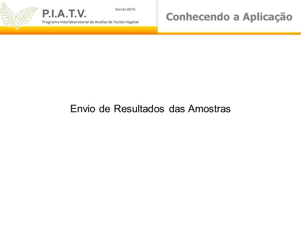 Conhecendo a Aplicação Envio de Resultados das Amostras