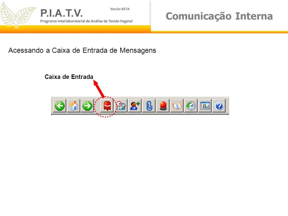 Comunicação Interna Caixa de Entrada Acessando a Caixa de Entrada de Mensagens