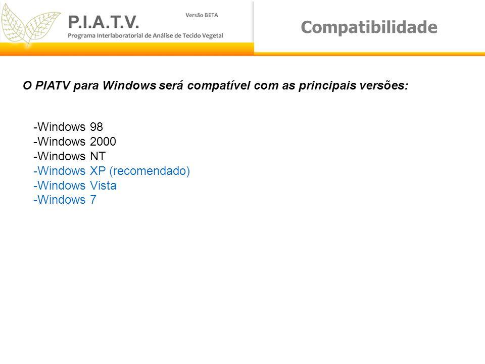 Compatibilidade O PIATV para Windows será compatível com as principais versões: -Windows 98 -Windows 2000 -Windows NT -Windows XP (recomendado) -Windo
