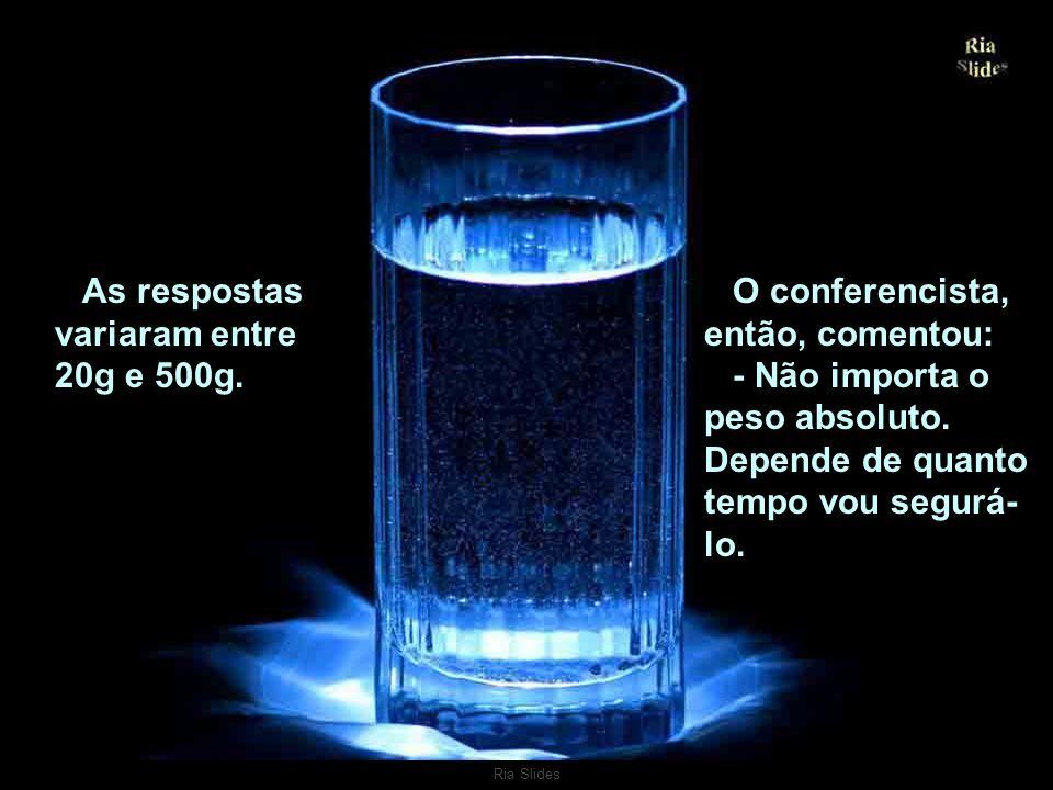 Ria Slides Um conferencista falava sobre gerenciamento da tensão. Levantou um copo com água e perguntou à platéia: - Quanto vocês acham que pesa este