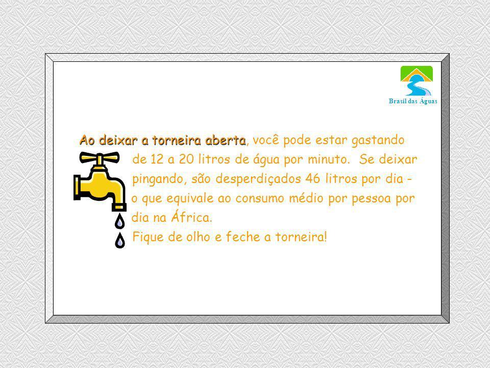 Luannarj@uol.com.br Brasil das Águas Ao deixar a torneira aberta Ao deixar a torneira aberta, você pode estar gastando de 12 a 20 litros de água por minuto.