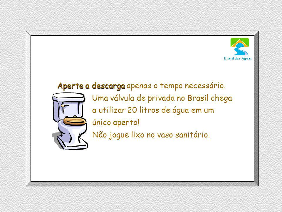 Luannarj@uol.com.br Brasil das Águas Aperte a descarga Aperte a descarga apenas o tempo necessário.