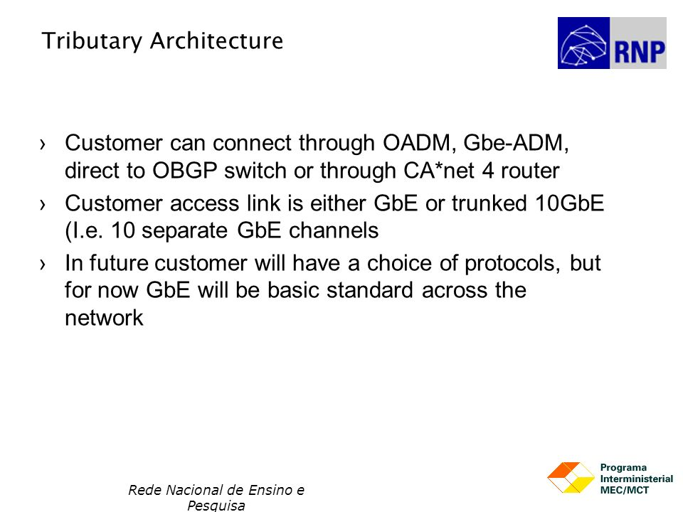 Rede Nacional de Ensino e Pesquisa Tributary Architecture Customer can connect through OADM, Gbe-ADM, direct to OBGP switch or through CA*net 4 router