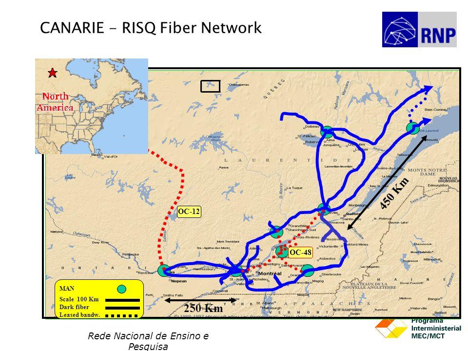 Rede Nacional de Ensino e Pesquisa OC-12 MAN Scale 100 Km CANARIE - RISQ Fiber Network Dark fiber Leased bandw. 250 Km 450 Km OC-48