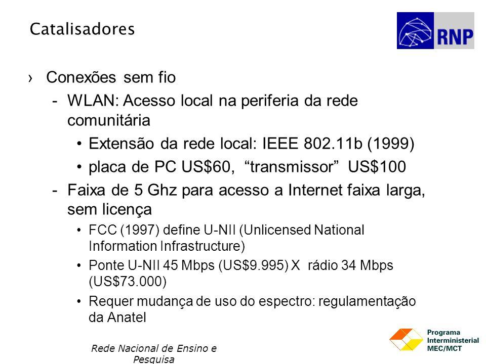 Rede Nacional de Ensino e Pesquisa Catalisadores Conexões sem fio WLAN: Acesso local na periferia da rede comunitária Extensão da rede local: IEEE 802.11b (1999) placa de PC US$60, transmissor US$100 Faixa de 5 Ghz para acesso a Internet faixa larga, sem licença FCC (1997) define U-NII (Unlicensed National Information Infrastructure) Ponte U-NII 45 Mbps (US$9.995) X rádio 34 Mbps (US$73.000) Requer mudança de uso do espectro: regulamentação da Anatel