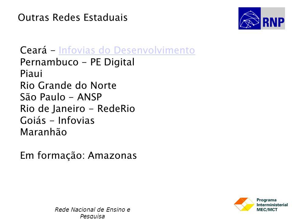 Rede Nacional de Ensino e Pesquisa Ceará - Infovias do Desenvolvimento Pernambuco - PE Digital Piaui Rio Grande do Norte São Paulo - ANSP Rio de Janei
