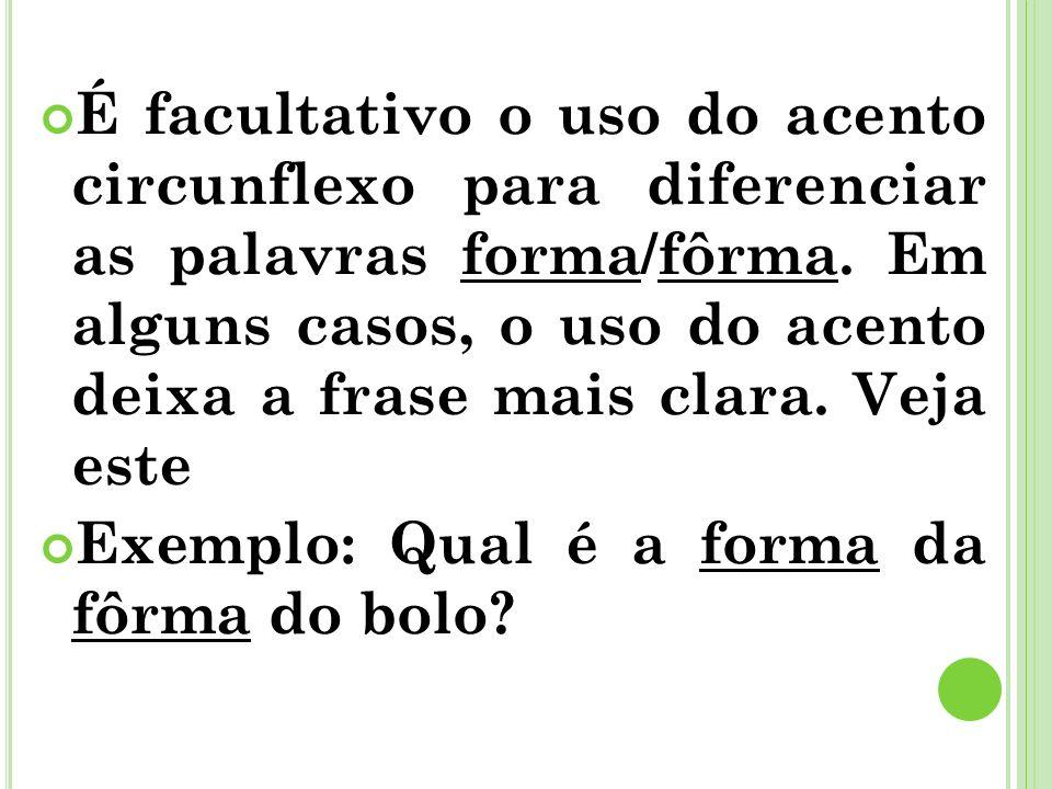 É facultativo o uso do acento circunflexo para diferenciar as palavras forma/fôrma. Em alguns casos, o uso do acento deixa a frase mais clara. Veja es