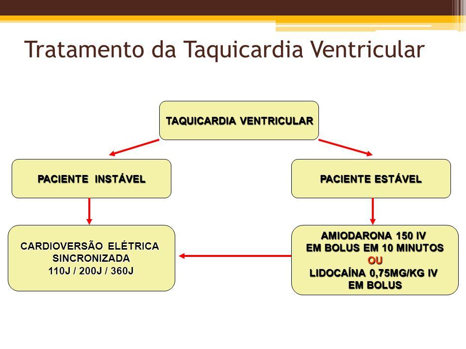 Tratamento da Taquicardia Ventricular TAQUICARDIA VENTRICULAR PACIENTE INSTÁVEL PACIENTE ESTÁVEL CARDIOVERSÃO ELÉTRICA SINCRONIZADA 110J / 200J / 360J