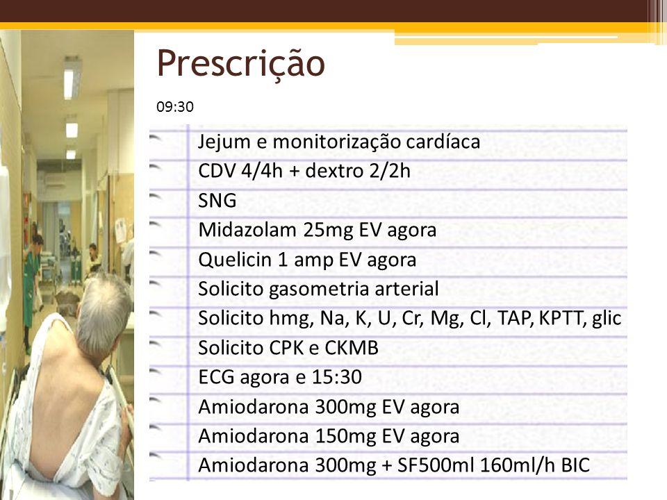 Prescrição Jejum e monitorização cardíaca CDV 4/4h + dextro 2/2h SNG Midazolam 25mg EV agora Quelicin 1 amp EV agora Solicito gasometria arterial Soli