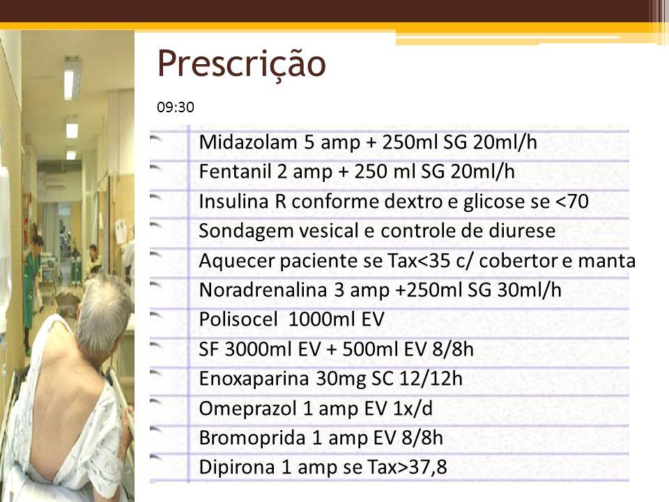 Prescrição Midazolam 5 amp + 250ml SG 20ml/h Fentanil 2 amp + 250 ml SG 20ml/h Insulina R conforme dextro e glicose se <70 Sondagem vesical e controle
