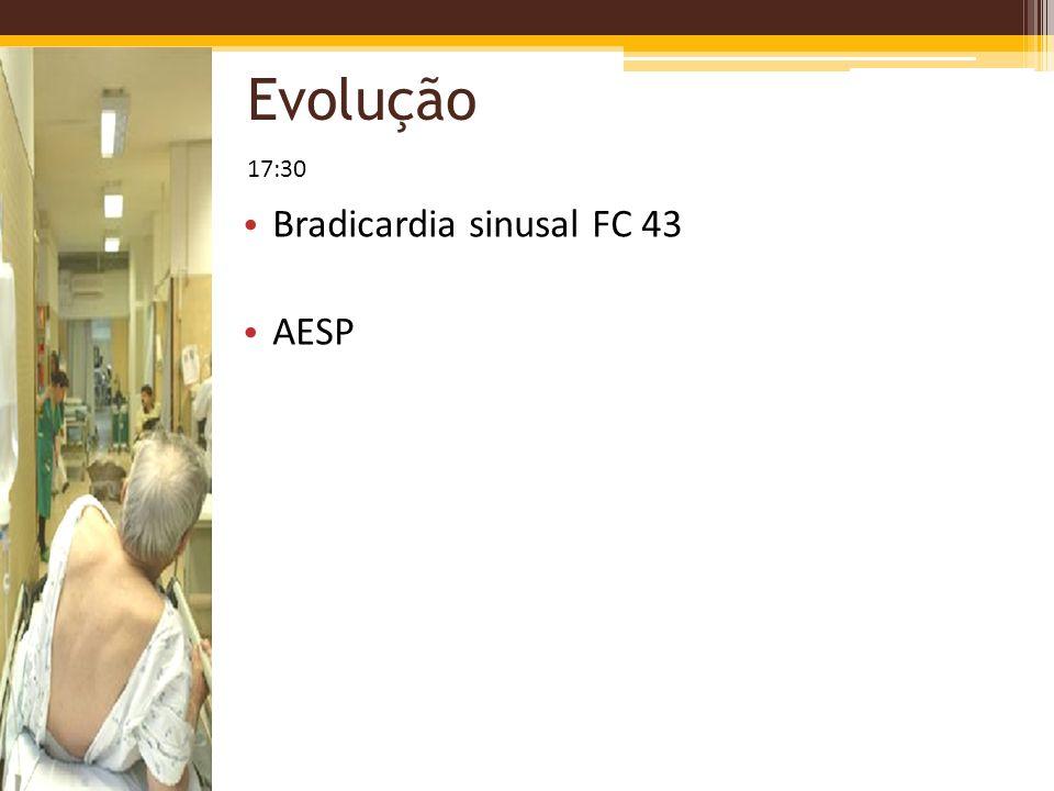 Evolução Bradicardia sinusal FC 43 AESP 17:30