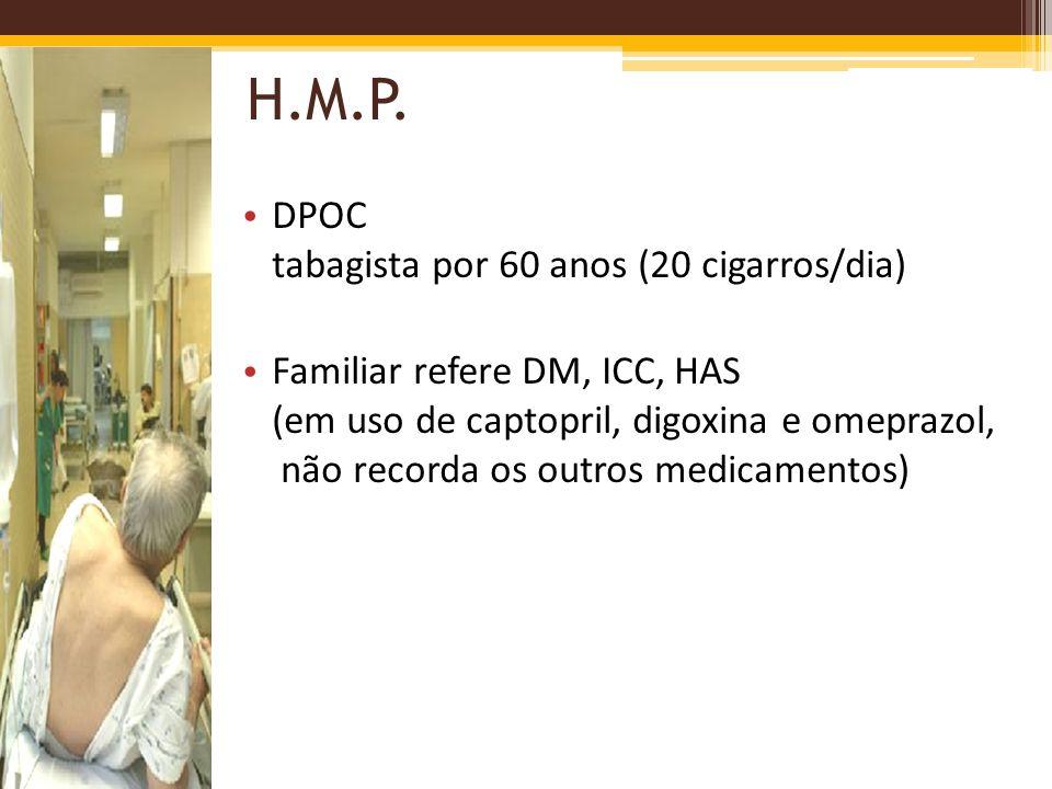 H.M.P. DPOC tabagista por 60 anos (20 cigarros/dia) Familiar refere DM, ICC, HAS (em uso de captopril, digoxina e omeprazol, não recorda os outros med