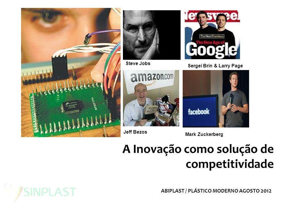 A Inovação como solução de competitividade Sergei Brin & Larry Page Steve Jobs Mark Zuckerberg Jeff Bezos ABIPLAST / PLÁSTICO MODERNO AGOSTO 2012