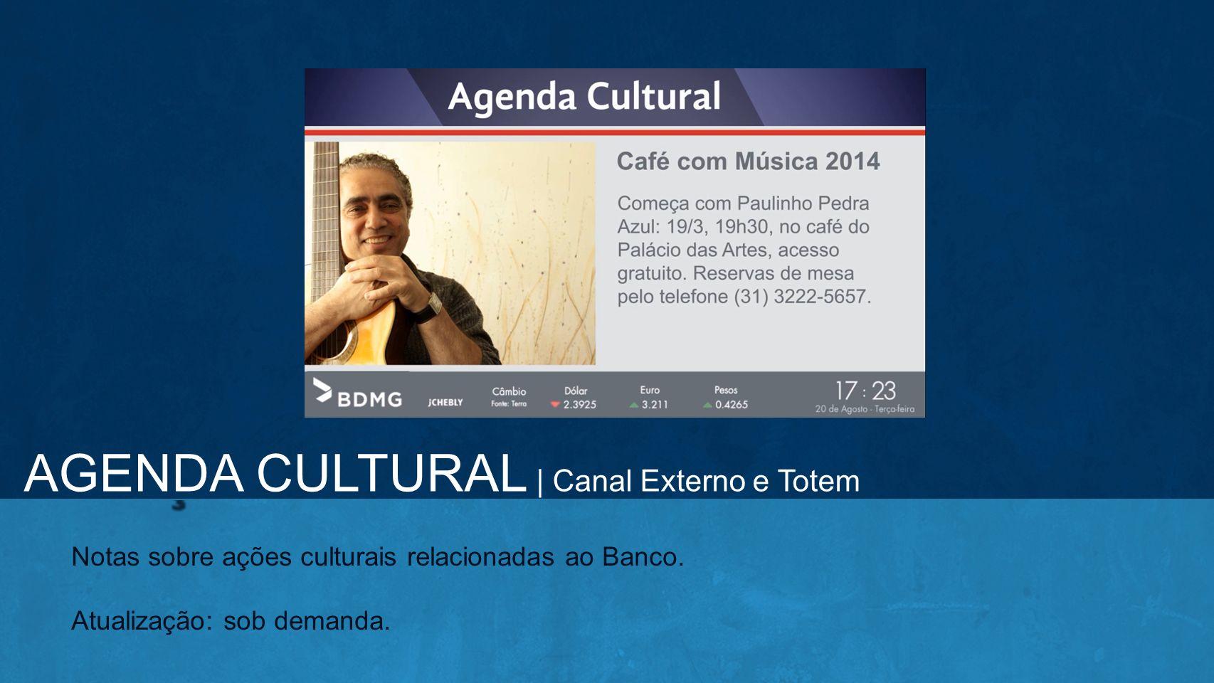 Notas sobre ações culturais relacionadas ao Banco. Atualização: sob demanda. AGENDA CULTURAL | Canal Externo e Totem