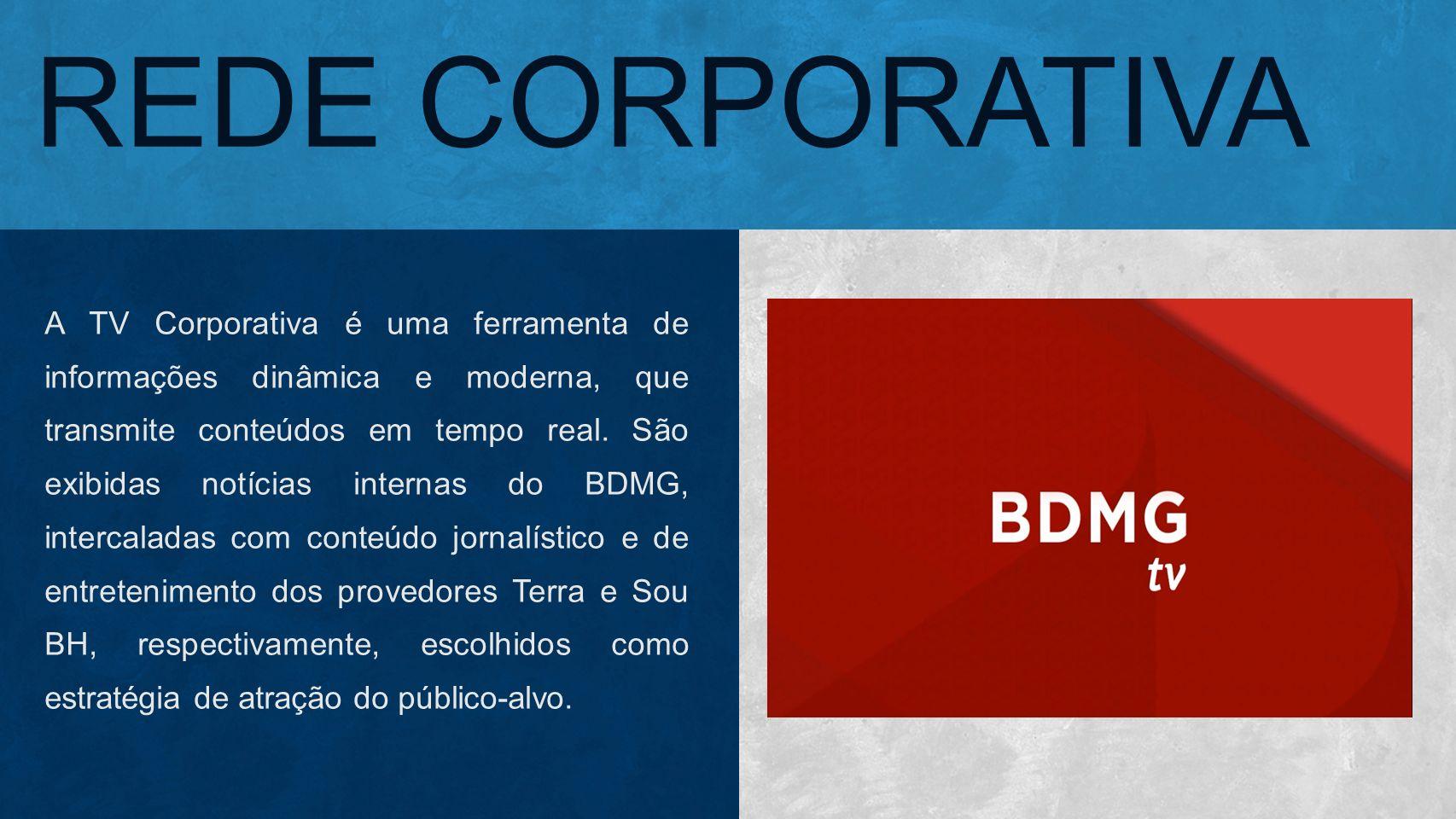 REDE CORPORATIVA A TV Corporativa é uma ferramenta de informações dinâmica e moderna, que transmite conteúdos em tempo real. São exibidas notícias int