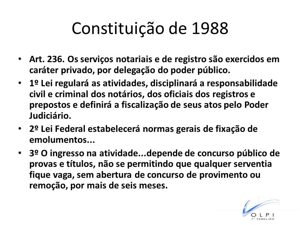 Constituição de 1988 Art. 236. Os serviços notariais e de registro são exercidos em caráter privado, por delegação do poder público. 1º Lei regulará a