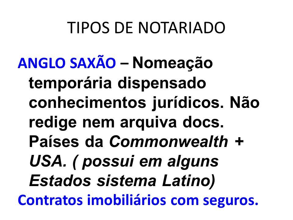 TIPOS DE NOTARIADO ANGLO SAXÃO – Nomeação temporária dispensado conhecimentos jurídicos. Não redige nem arquiva docs. Países da Commonwealth + USA. (