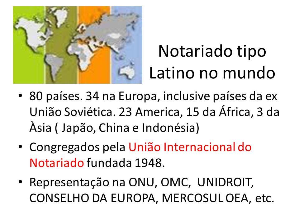 Notariado tipo Latino no mundo 80 países. 34 na Europa, inclusive países da ex União Soviética. 23 America, 15 da África, 3 da Àsia ( Japão, China e I