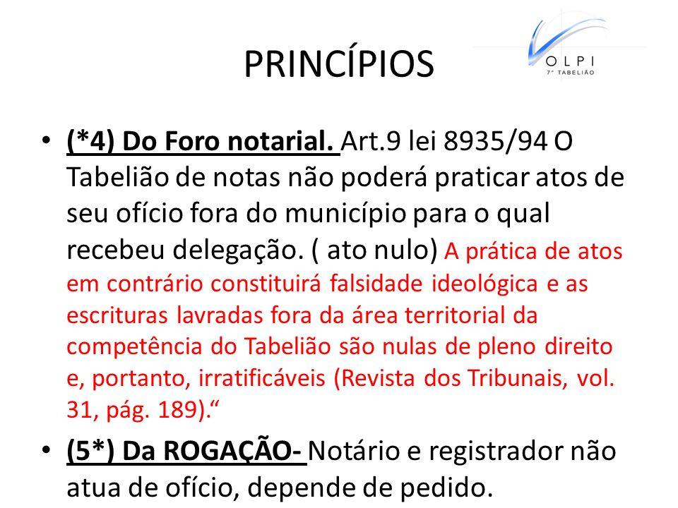 PRINCÍPIOS (*4) Do Foro notarial. Art.9 lei 8935/94 O Tabelião de notas não poderá praticar atos de seu ofício fora do município para o qual recebeu d