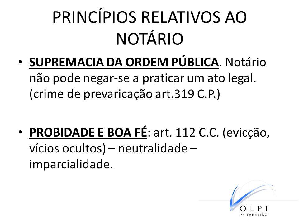PRINCÍPIOS RELATIVOS AO NOTÁRIO SUPREMACIA DA ORDEM PÚBLICA. Notário não pode negar-se a praticar um ato legal. (crime de prevaricação art.319 C.P.) P