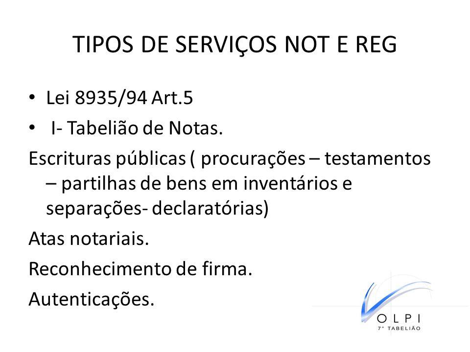 TIPOS DE SERVIÇOS NOT E REG Lei 8935/94 Art.5 I- Tabelião de Notas. Escrituras públicas ( procurações – testamentos – partilhas de bens em inventários