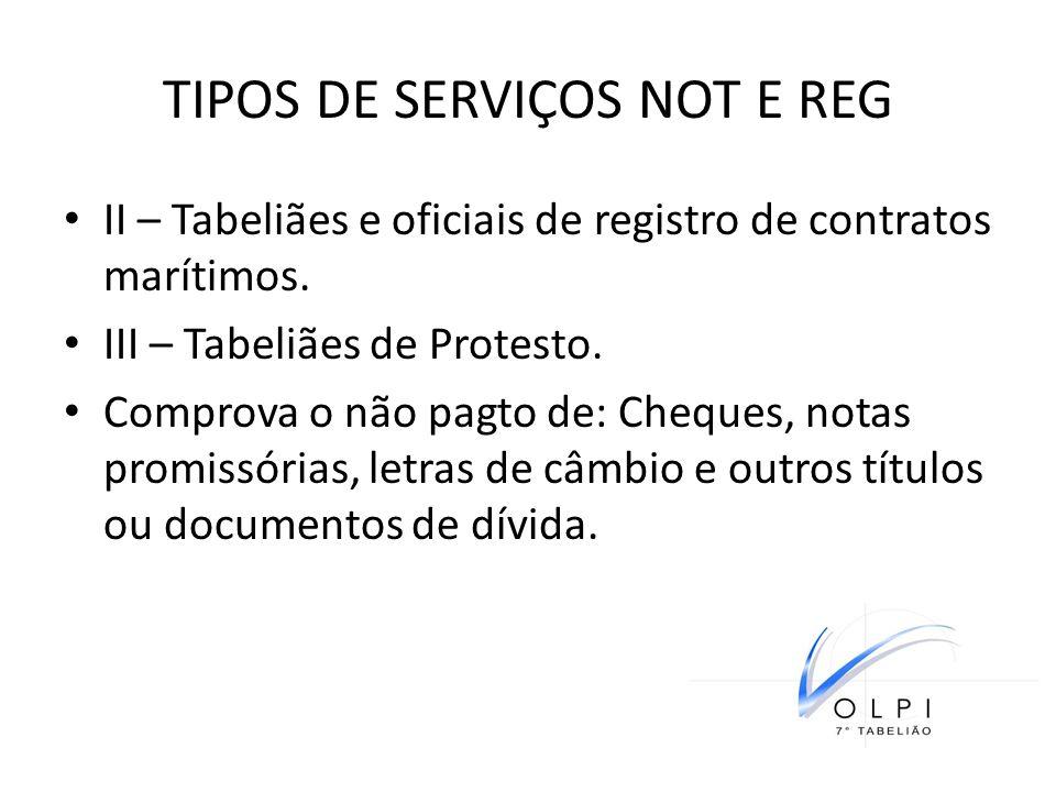 TIPOS DE SERVIÇOS NOT E REG II – Tabeliães e oficiais de registro de contratos marítimos. III – Tabeliães de Protesto. Comprova o não pagto de: Cheque