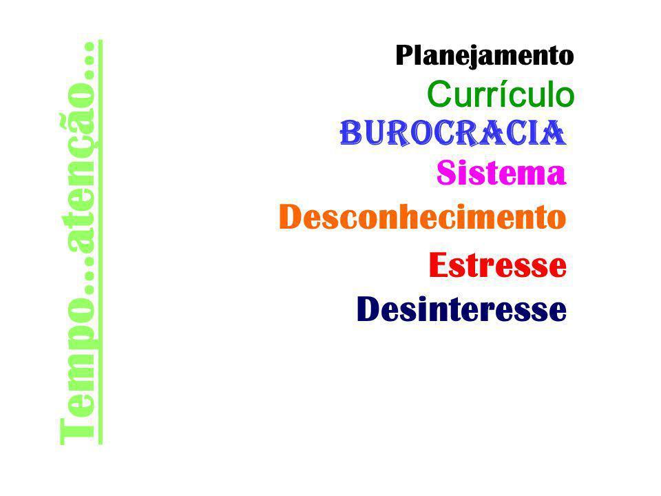 Tempo...atenção... Burocracia Sistema Desconhecimento Estresse Desinteresse Planejamento Currículo