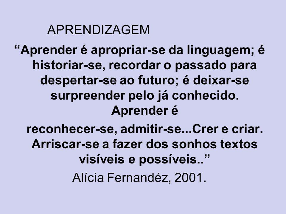 APRENDIZAGEM Aprender é apropriar-se da linguagem; é historiar-se, recordar o passado para despertar-se ao futuro; é deixar-se surpreender pelo já con