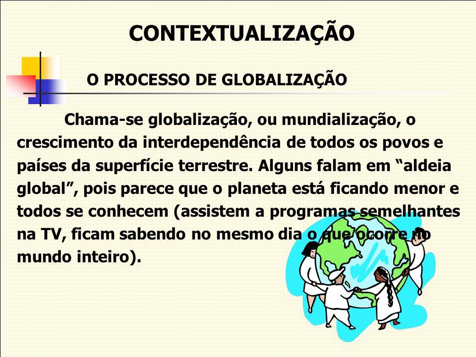 CONTEXTUALIZAÇÃO O PROCESSO DE GLOBALIZAÇÃO Chama-se globalização, ou mundialização, o crescimento da interdependência de todos os povos e países da s
