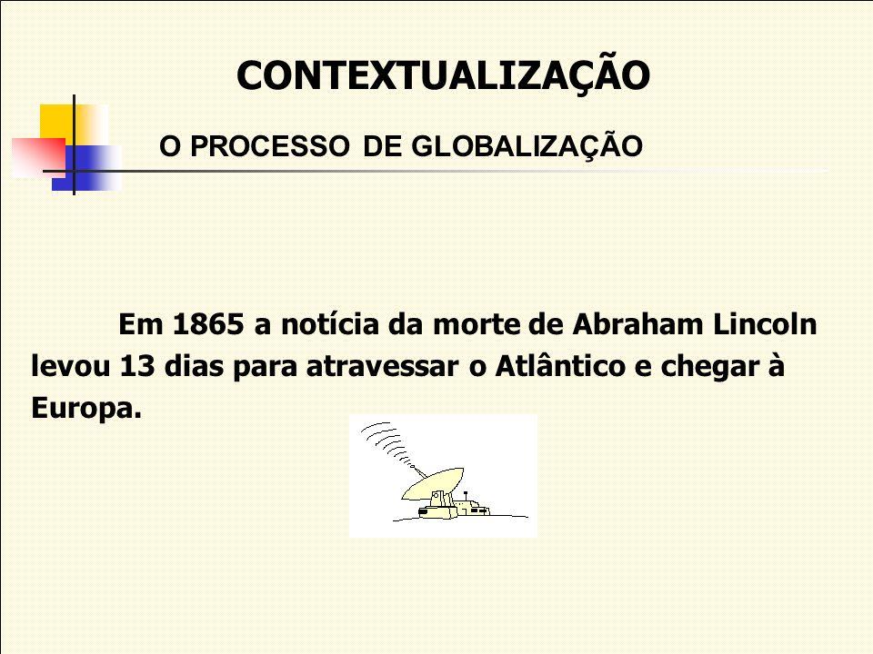 CONTEXTUALIZAÇÃO O PROCESSO DE GLOBALIZAÇÃO Em 1865 a notícia da morte de Abraham Lincoln levou 13 dias para atravessar o Atlântico e chegar à Europa.