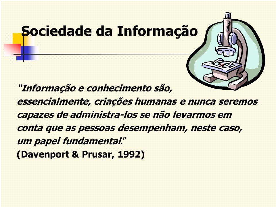 Sociedade da Informação Informação e conhecimento são, essencialmente, criações humanas e nunca seremos capazes de administra-los se não levarmos em c