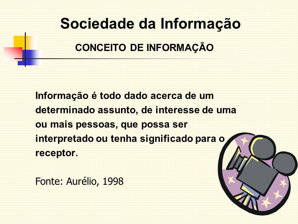 Sociedade da Informação CONCEITO DE INFORMAÇÃO Informação é todo dado acerca de um determinado assunto, de interesse de uma ou mais pessoas, que possa