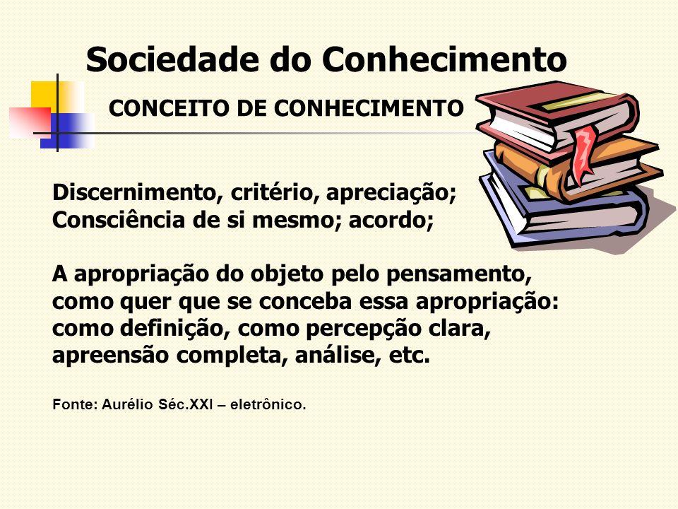Sociedade do Conhecimento CONCEITO DE CONHECIMENTO Discernimento, critério, apreciação; Consciência de si mesmo; acordo; A apropriação do objeto pelo