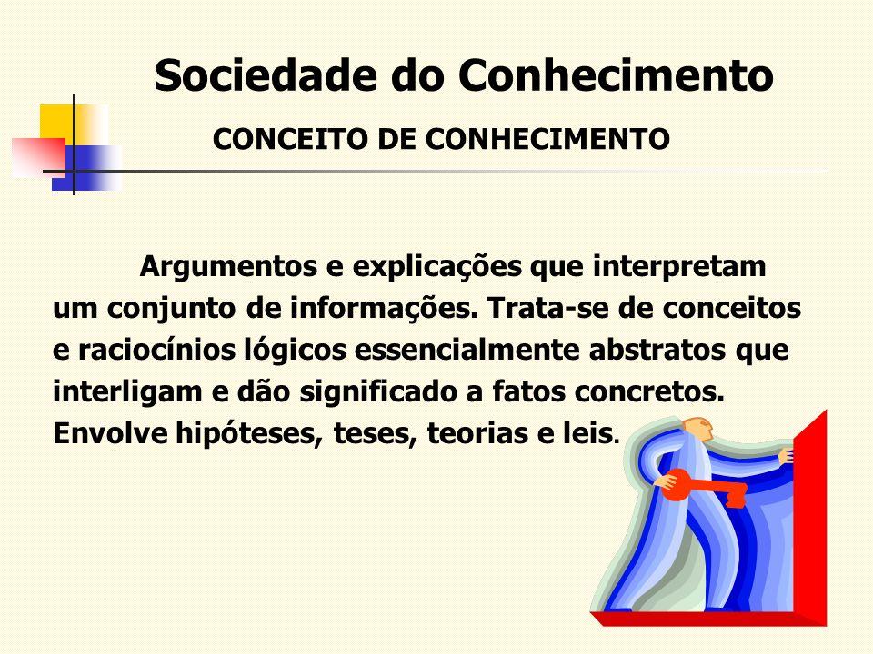 Sociedade do Conhecimento CONCEITO DE CONHECIMENTO Argumentos e explicações que interpretam um conjunto de informações. Trata-se de conceitos e racioc