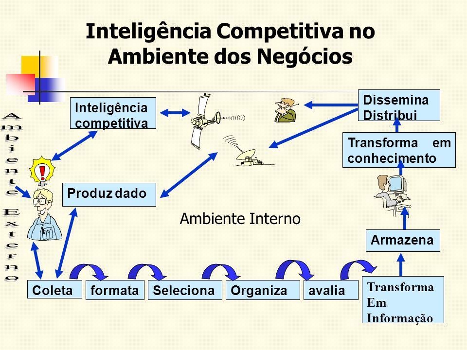 Inteligência Competitiva no Ambiente dos Negócios ColetaformataSelecionaOrganizaavalia Transforma Em Informação Transforma em conhecimento Dissemina D