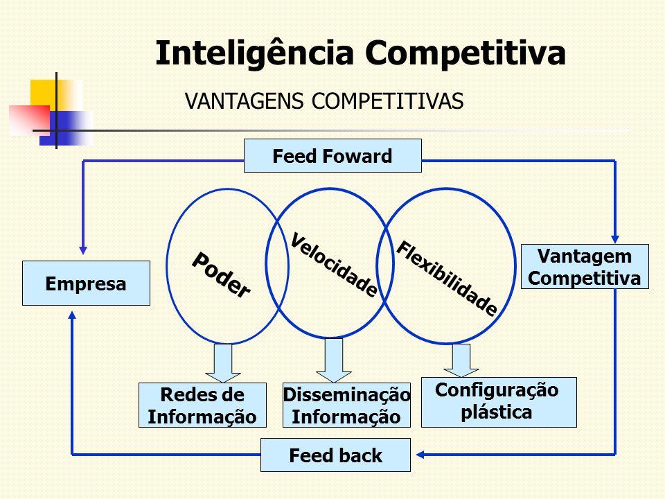 Inteligência Competitiva VANTAGENS COMPETITIVAS Empresa Poder Vantagem Competitiva Flexibilidade Velocidade Redes de Informação Disseminação Informaçã