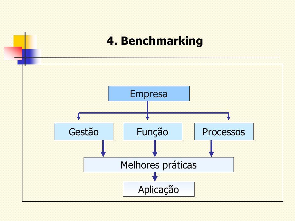 4. Benchmarking Empresa GestãoFunçãoProcessos Melhores práticas Aplicação