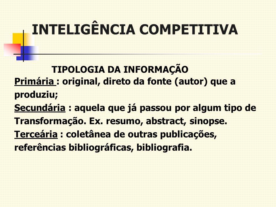 INTELIGÊNCIA COMPETITIVA TIPOLOGIA DA INFORMAÇÃO Primária : original, direto da fonte (autor) que a produziu; Secundária : aquela que já passou por al