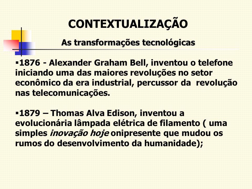 CONTEXTUALIZAÇÃO As transformações tecnológicas 1876 - Alexander Graham Bell, inventou o telefone iniciando uma das maiores revoluções no setor econôm