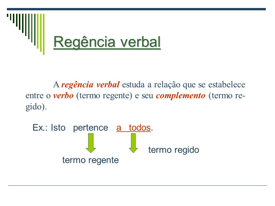 Regência verbal A regência verbal estuda a relação que se estabelece entre o verbo (termo regente) e seu complemento (termo re- gido).